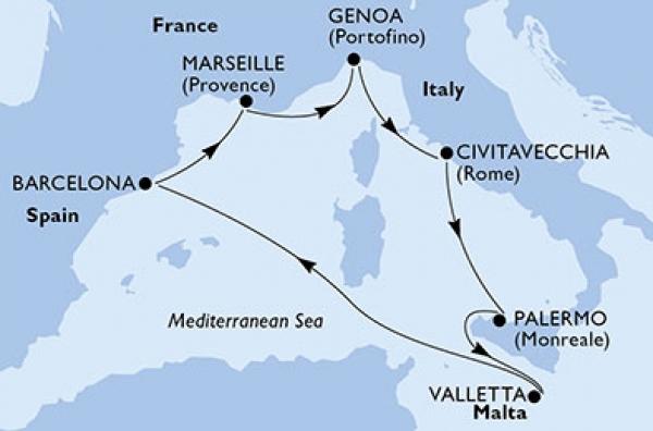 MSC Meraviglia - A nyugat-mediterrán térség kincsei