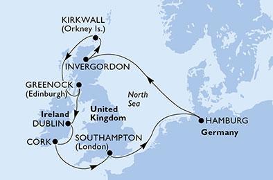 Skócia és Írország felfedezése a májusi hosszú hétvégén - MSC MERAVIGLIA