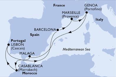 Csoportos hajóút - Gibraltáron keresztül az Atlanti-partra - MSC Preziosa
