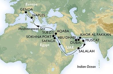 dubai térkép MSC LIRICA   Dubai   Genova   Előfoglalási árakkal már foglalható  dubai térkép