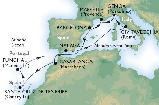 Csoportos hajóút - A Földközi-tengertől az Atlanti-óceánig - MSC Orchestra