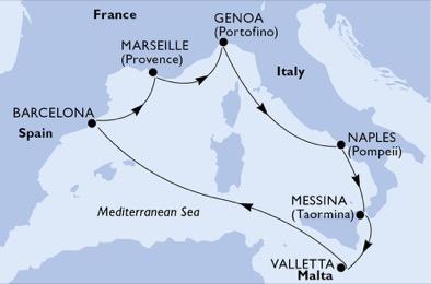 Csoportos hajóút - Mediterrán kalandozások Húsvétkor a legújabb MSC hajóval - MSC Bellisima